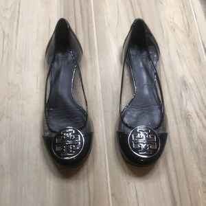 Tory Burch Clear and Black Reva Flats Size 7